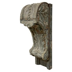 Zinc Corbel with Floral Design from Turn of the Century Building Facade