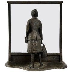 Zinc Statue of a Flemish Lady Who is Window Shopping at UNIC Supermarket