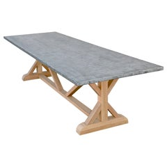 Zinc Top Farm Table Made from Teak, Built to Order by Petersen Antiques