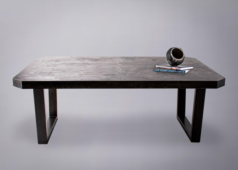Zink Octogon Dining Table with Black Hollow Steel Base In Good Condition For Sale In Dallas, TX