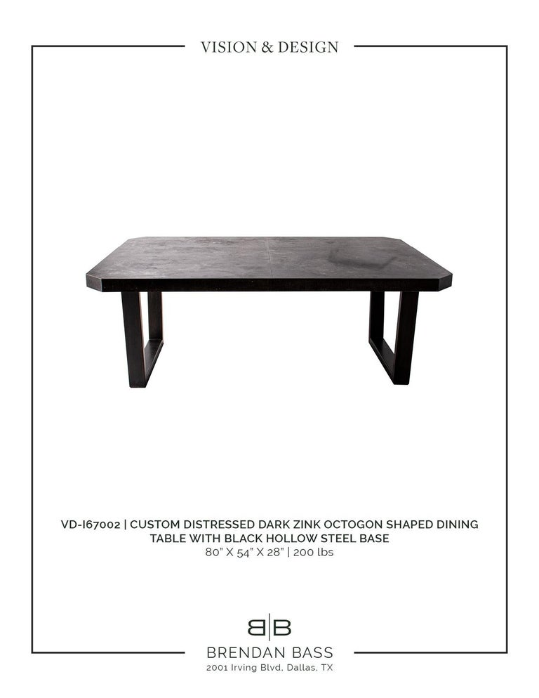 Contemporary Zink Octogon Dining Table with Black Hollow Steel Base For Sale