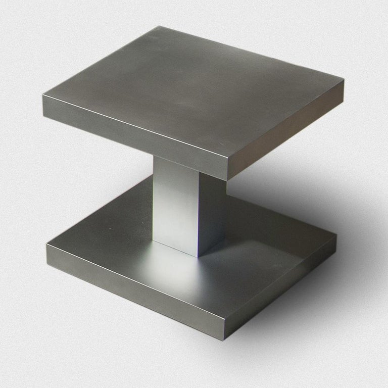 Modern Zinkino Small Square Zinc-Coated Coffee Table Designed by Aldo Cibic For Sale