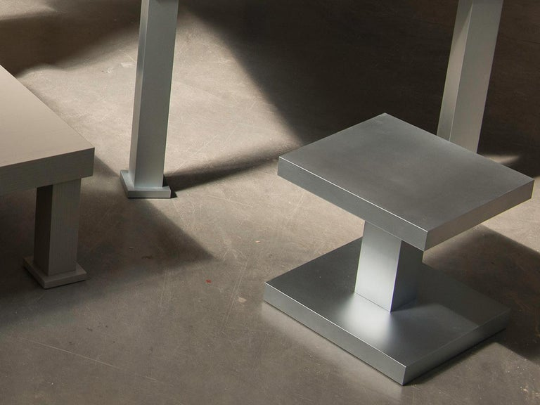 Italian Zinkino Small Square Zinc-Coated Coffee Table Designed by Aldo Cibic For Sale