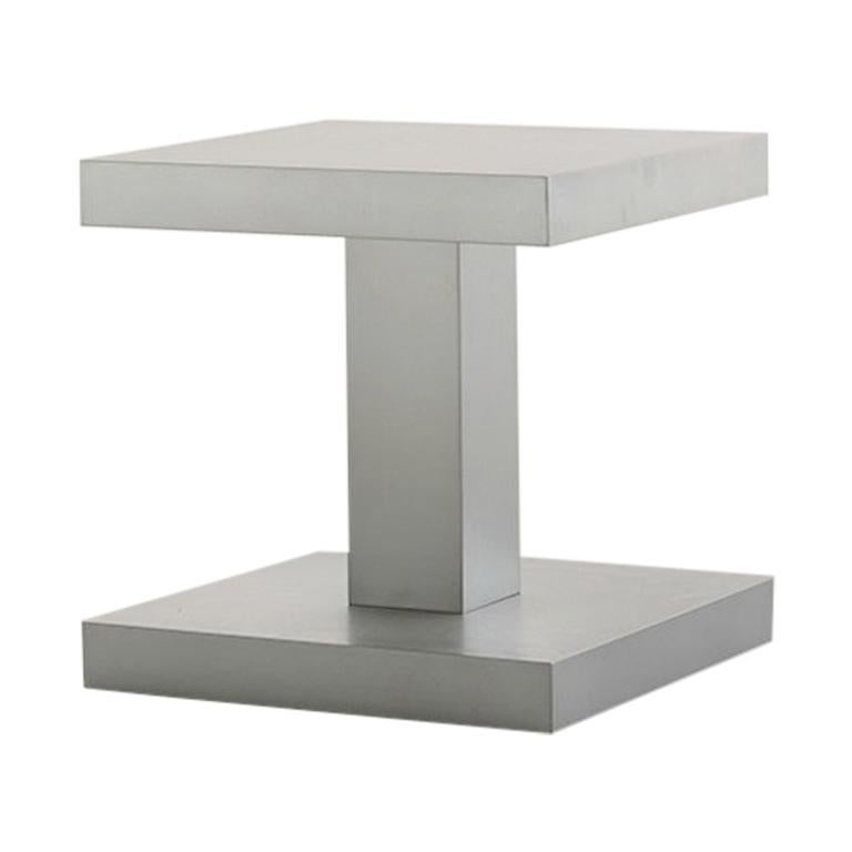 Zinkino Small Square Zinc-Coated Coffee Table Designed by Aldo Cibic For Sale