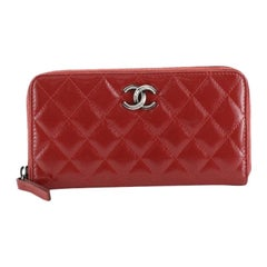 Zip Around Wallet Quilted Coated Canvas Long