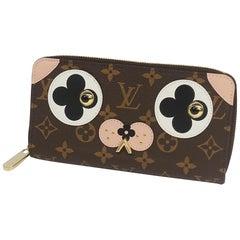 Zippy Wallet DOG  Dog  unisex  long wallet M67246  brown Leather
