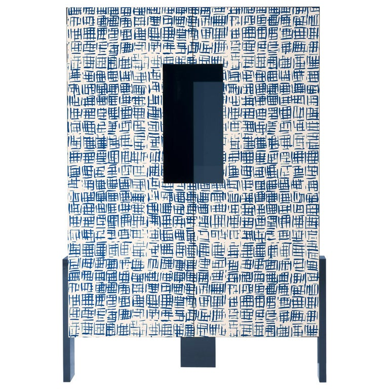 Ziqqurat Low Cabinet in Traccia Blue and White Pattern by Driade Lab For Sale