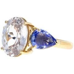 Zircon and Tranzanite 18 Karat Yellow Gold Ring