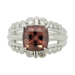 Zircon Diamond Platinum Ring