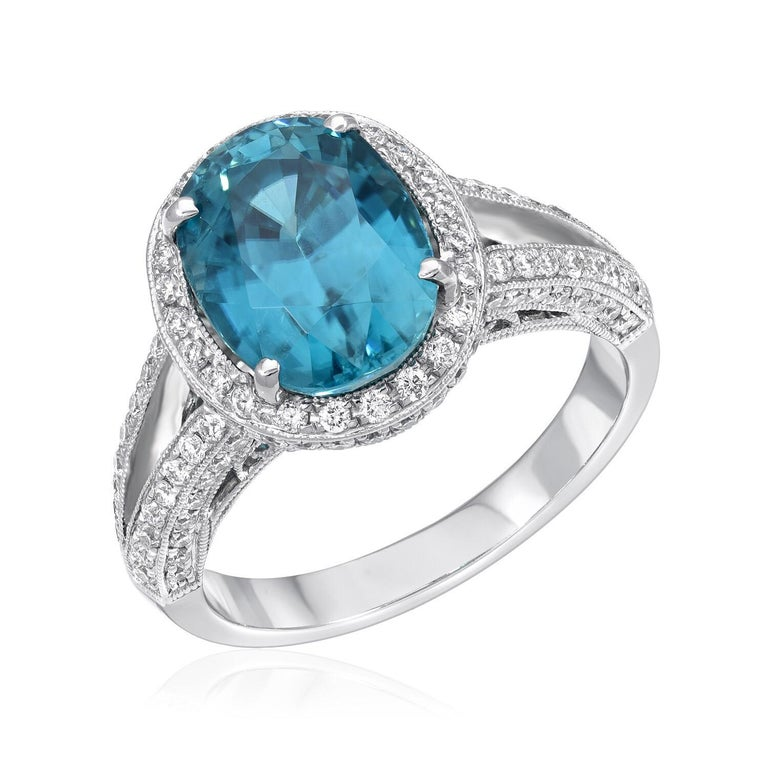 Modern Blue Zircon Ring Oval 6.07 Carats For Sale