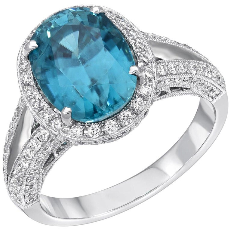 Blue Zircon Ring Oval 6.07 Carats For Sale