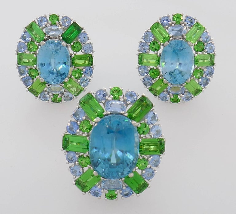 Zircon Tsavorite Aquamarine Gold Earrings and Ring Set, 1980s For Sale 1