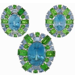 Zircon Tsavorite Aquamarine Gold Earrings and Ring Set, 1980s