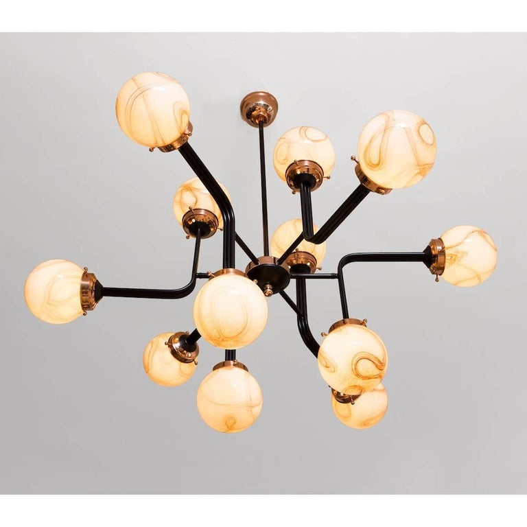 Organic Modern Ziron Handblown Glass Chandelier with Copper and Black Painted Metal For Sale