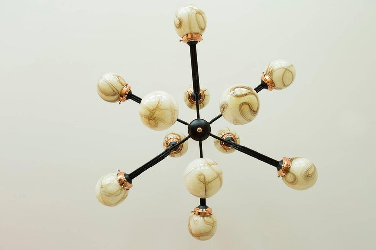 Contemporary Ziron Handblown Glass Chandelier with Copper and Black Painted Metal For Sale
