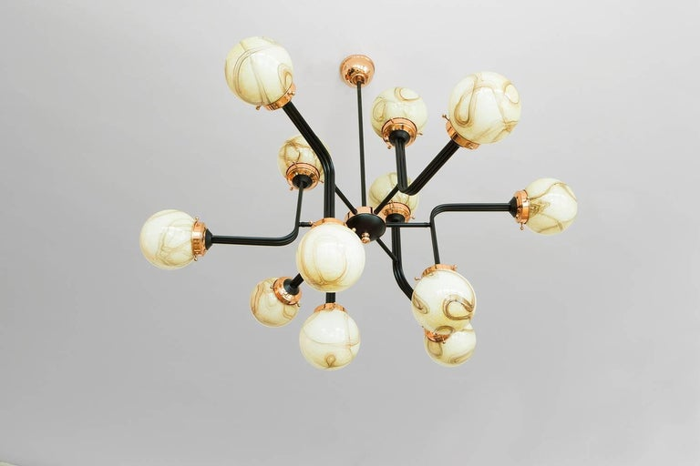 Ziron Handblown Glass Chandelier with Copper and Black Painted Metal For Sale 2