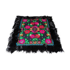 """Zitanpixel Roses Roundabout"" 20th Cen. Hand-Knotted Sheep Wool Gipsy Style Rug"