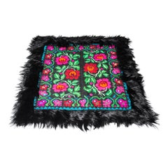 """Zitanpixel Squared on Roses"", Hand Knotted Sheep Wool Gipsy Style Rug"