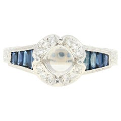 Ziva Semi-Mount Halo Engagement Ring 950 Platinum Sapphires Diamonds .84 Carat