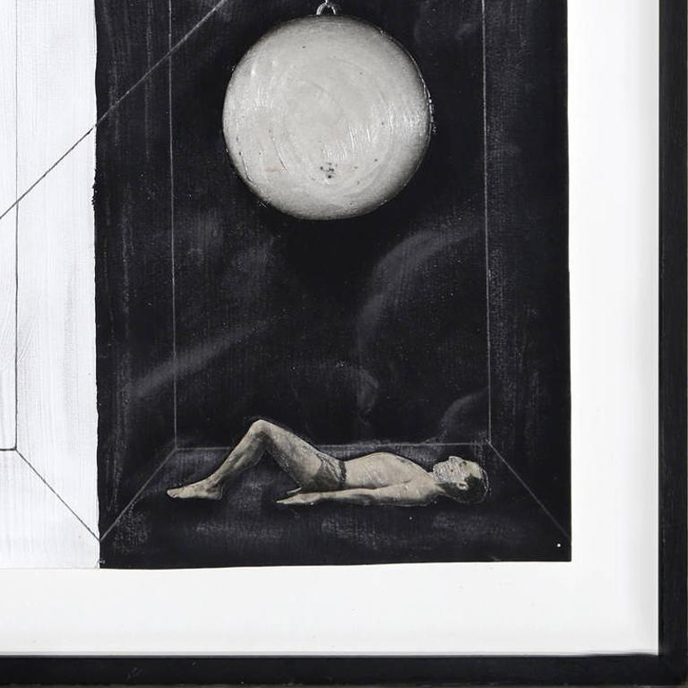 A mixed media work by Zizi Raymond from 1988. A surrealist conceptual piece representing figures in a forbidding interior.   Artist: Zizi Raymond, American (1960 - 2014) Title: Untitled - Pulley System Year: 1988 Medium: Mixed Media on