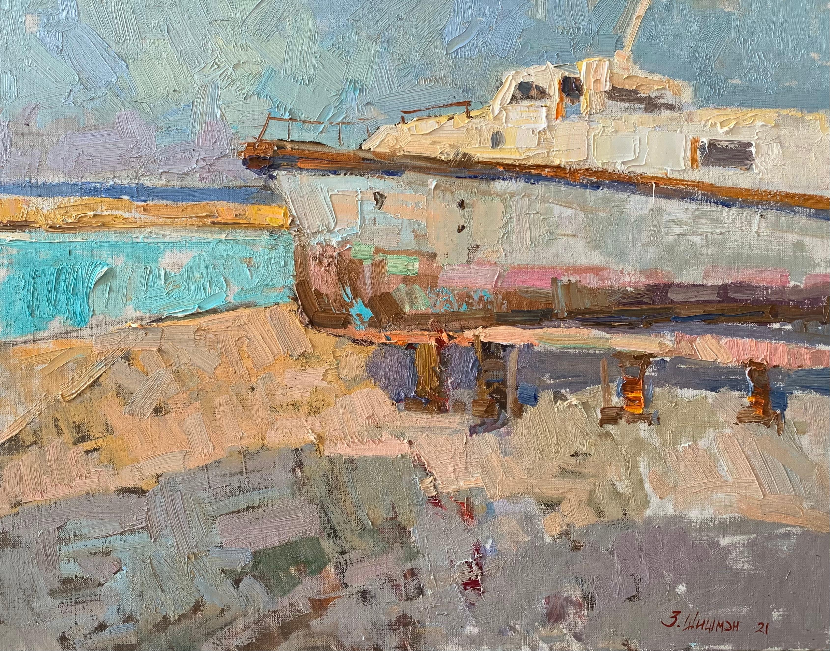 Odessa Boat - Landscape Oil Canvas Painting Colours Blue White Brown Beige