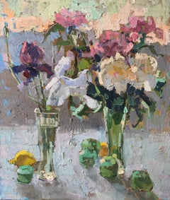 Scent of May - Still Life Oil Canvas Painting Purple Blue White Brown Yellow