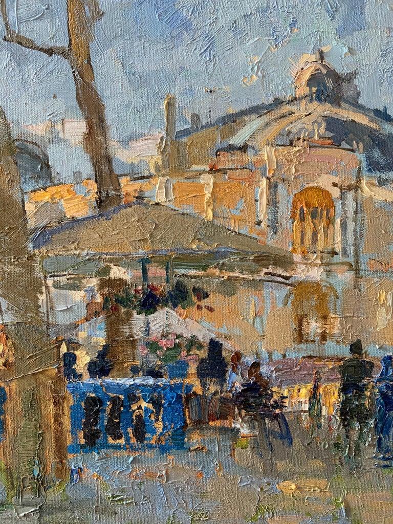 Summer Terraces - Landscape Oil Canvas Painting Colours Blue White Brown Beige - Gray Landscape Painting by Zlata Shyshman