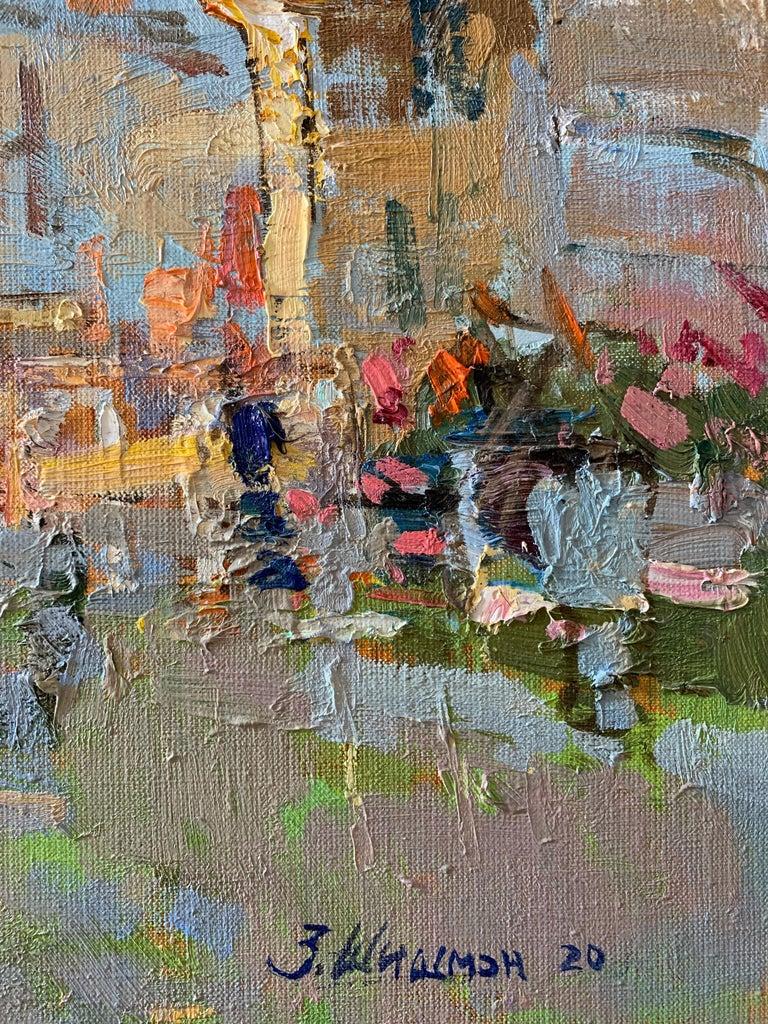 Summer Terraces - Landscape Oil Canvas Painting Colours Blue White Brown Beige For Sale 1
