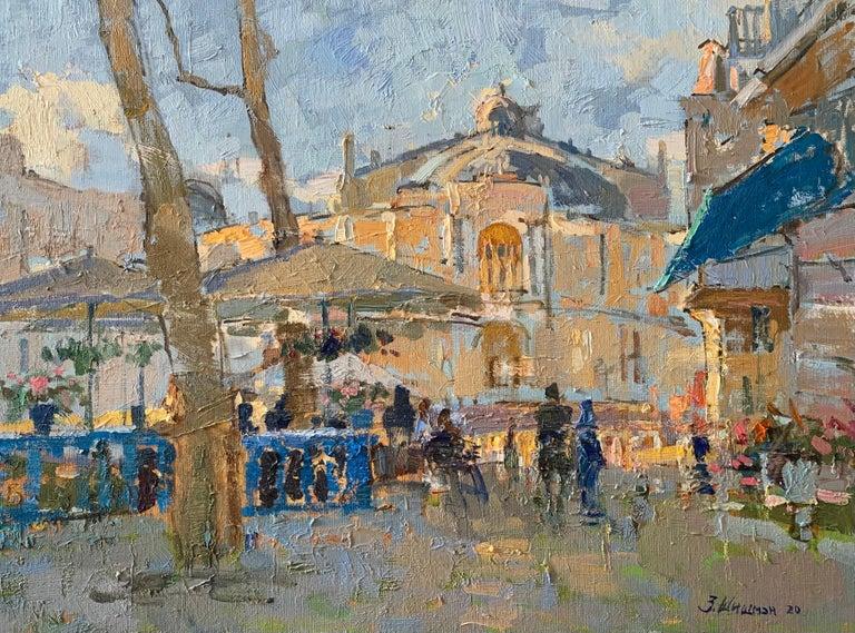 Zlata Shyshman Landscape Painting - Summer Terraces - Landscape Oil Canvas Painting Colours Blue White Brown Beige