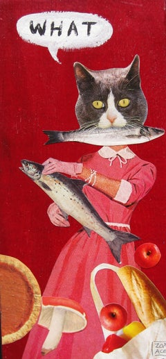 """""""WHAT (Domestic Cat)"""" Mixed media collage"""