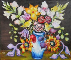 """""""Bouquet with Yellow Birds"""" Oil Painting"""