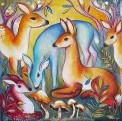 """""""Deer with Mushrooms"""" Oil Painting"""