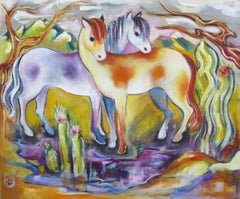 """""""Pinto Ponies"""" Oil Painting"""