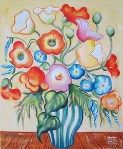 """""""Poppies with Morning Glories"""" Oil Painting"""