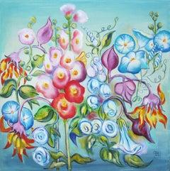 """Summer Garden,"" Oil Painting"