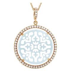 Zoccai 18 Karat Gold 0.46 Carat Diamond and Mother of Pearl Pendant Necklace