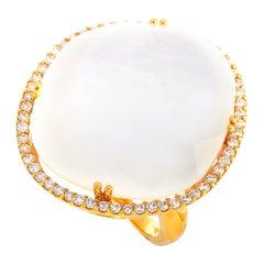 Zoccai 18 Karat Rose Gold 0.58 Carat Diamond and Mother of Pearl Ring