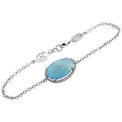 Zoccai 18 Karat White Gold 0.25 Carat Diamond and Aquamarine Bracelet