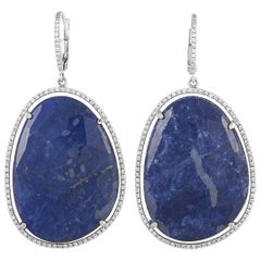 Zoccai 18 Karat White Gold 0.95 Carat Diamond and Lapis Lazuli Dangle Earrings