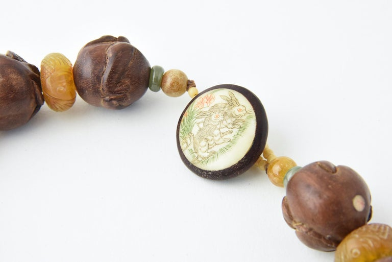 Zodiac Animal Hand Carved Signed Ojime Beads Necklace In Good Condition For Sale In Miami Beach, FL