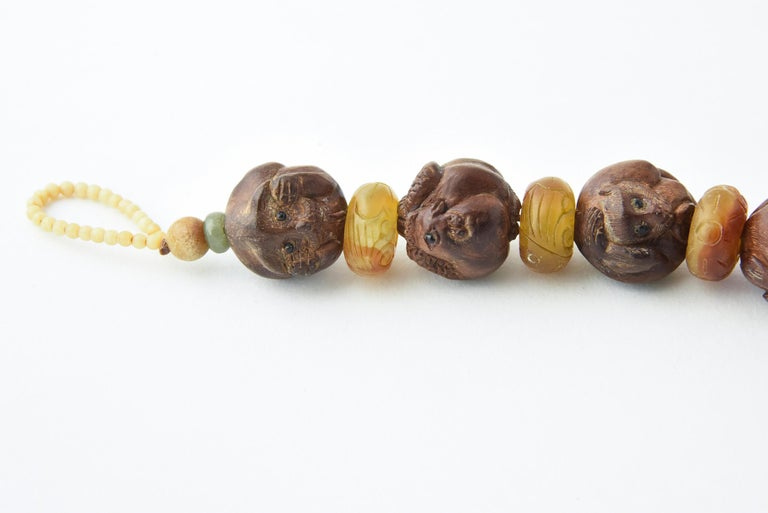 Zodiac Animal Hand Carved Signed Ojime Beads Necklace For Sale 1