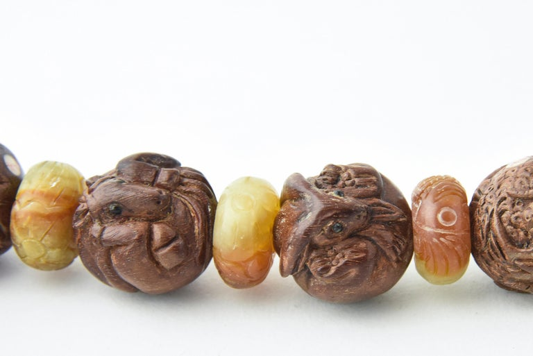 Zodiac Animal Hand Carved Signed Ojime Beads Necklace For Sale 3