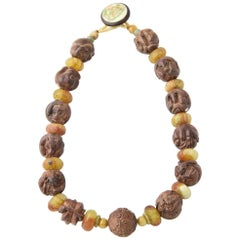 Zodiac Animal Hand Carved Signed Ojime Beads Necklace