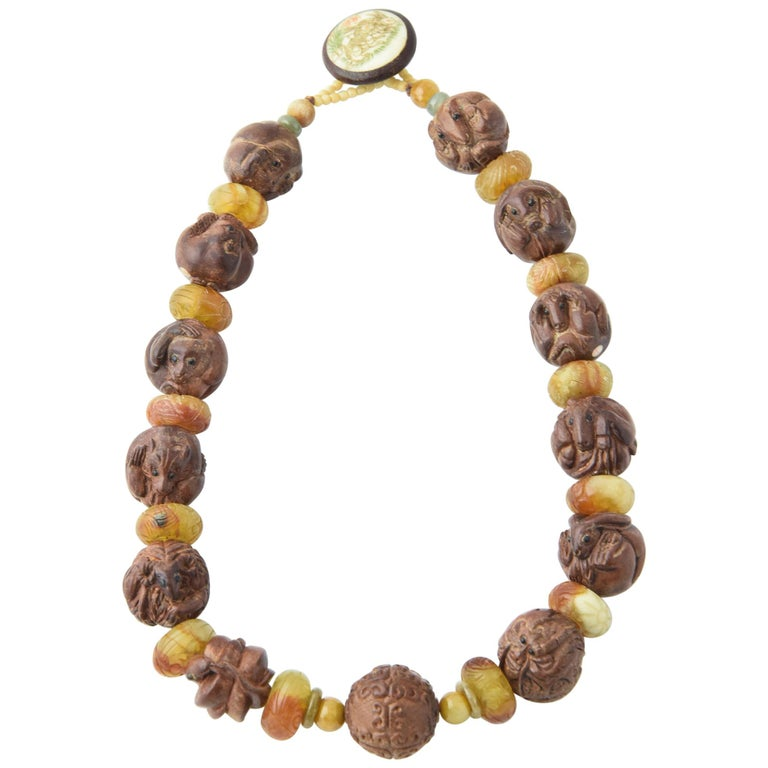 Zodiac Animal Hand Carved Signed Ojime Beads Necklace For Sale