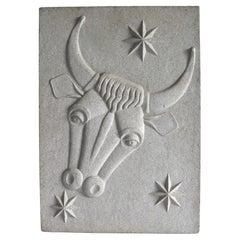 Zodiac Artificial Stone Relif Sign of Taurus, c. 1940