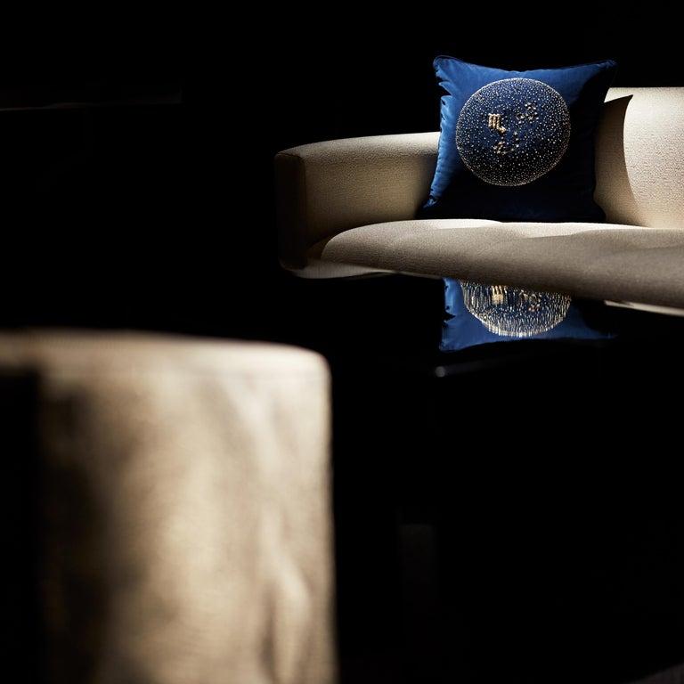 Modern Zodiac, Crystal Embroidered Cushion in Navy Blue Velvet For Sale