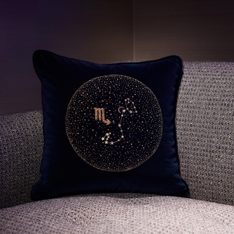 British Zodiac, Crystal Embroidered Cushion in Navy Blue Velvet For Sale