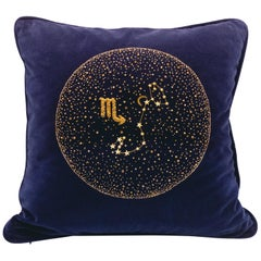 Zodiac, Crystal Embroidered Cushion in Navy Blue Velvet