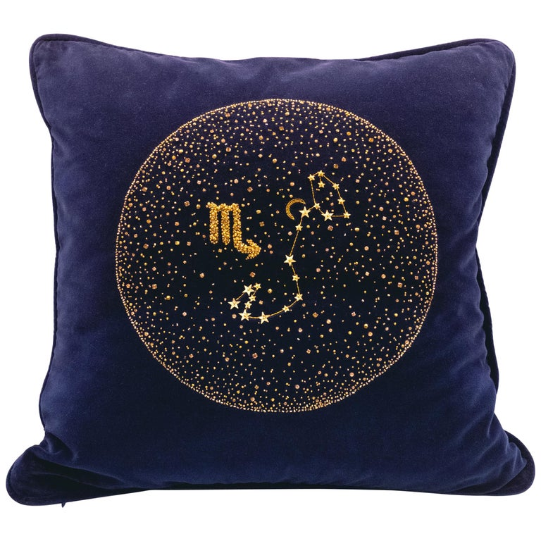 Zodiac, Crystal Embroidered Cushion in Navy Blue Velvet For Sale