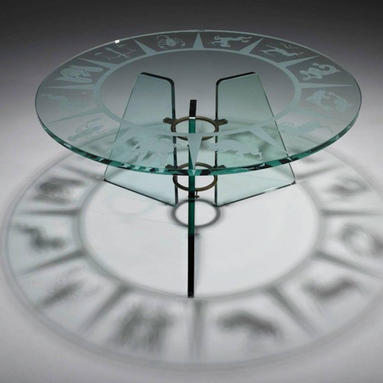 Art Deco Zodiac Etched Glass Cocktail Table Attributed to Pietro Chiesa For Sale